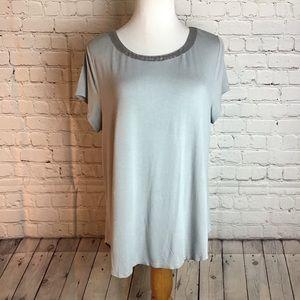 Alfani dove gray short sleeve top w/ satin collar